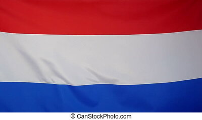 Slowmotion textile Flag Netherlands - Slowmotion of a real...