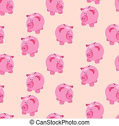 Piggybank seamless pattern - Seamless pattern of cute little...