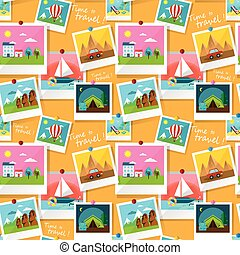 Travel planning board - Set of instant photo prints of...