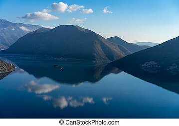 Bay of Kotor Boka Kotorska with the old town of Perast,...