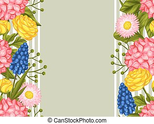 Seamless pattern with garden flowers. Decorative hortense,...