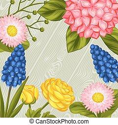 Background with garden flowers. Decorative hortense,...
