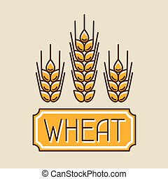 Emblem with wheat Agricultural image natural golden ears of...