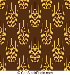 Seamless pattern with wheat Agricultural image natural ears...