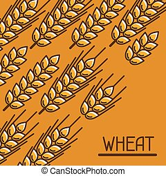 Background with wheat Agricultural image natural golden ears...