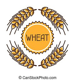 Emblem with wheat. Agricultural image natural golden ears of...