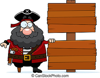 Pirate Sign - A happy cartoon pirate with a sign.