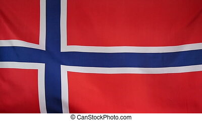 Slowmotion textile Flag of Norway - Slowmotion of a real...