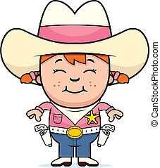 Kid Sheriff - A happy cartoon girl in a sheriff costume...