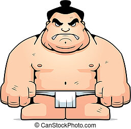 Big Sumo Wrestler - A big cartoon sumo wrestler with an...
