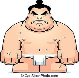 Big Sumo Wrestler - A big cartoon sumo wrestler with an...