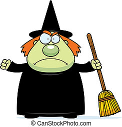 Angry Witch - A cartoon witch with an angry expression.