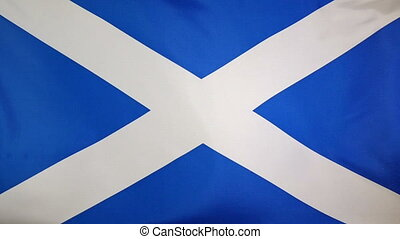 Slowmotion textile Flag Scotland - Slowmotion of a real...