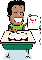 Student Grades - A happy cartoon student with his grades.