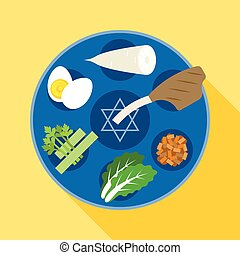 Passover seder, Happy Jewish holiday Pesach , Charoset,...