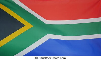 Slowmotion Flag South Africa - Slowmotion of a real textile...