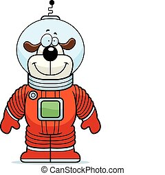 Dog Astronaut - A happy cartoon dog astronaut standing and...