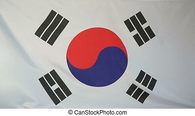 Slowmotion textile Flag South Korea - Slowmotion of a real...