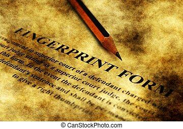Fingerprint form grunge concept
