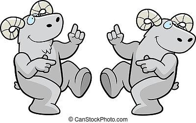 Ram Dancing - A happy cartoon ram dancing and smiling.