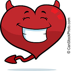 Devil Heart Smiling - A cartoon devil heart smiling and...