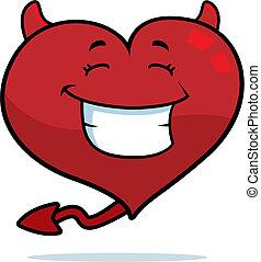 Coração, sorrindo, diabo