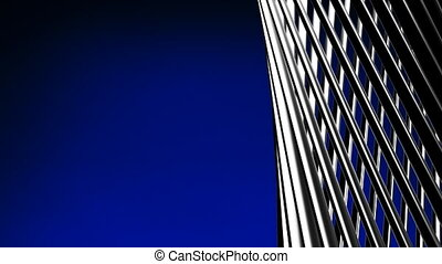 Silver Poles Abstract On Blue Text Space. Loop able 3DCG...