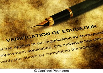 Verification of education grunge concept