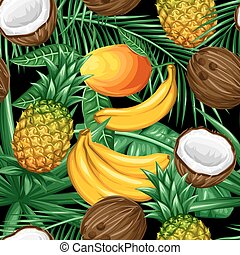 Seamless pattern with tropical fruits and leaves. Background...