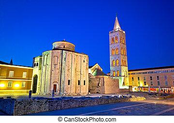 Zadar historic square and church evening view, Dalmatia,...