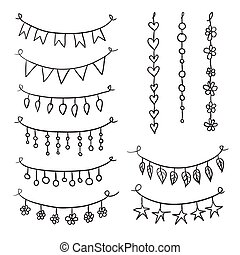 Set of hand drawn vector garlands. Collection of birthday...