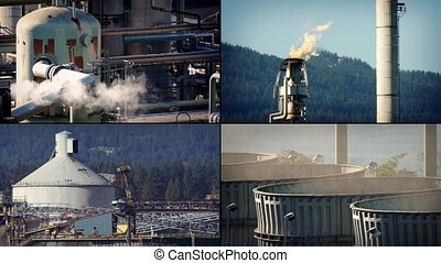 Oil Refinery Montage - Scenes of an oil refinery with stack...