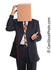 Box Man - Thinking - Thinking outside the box Concept...
