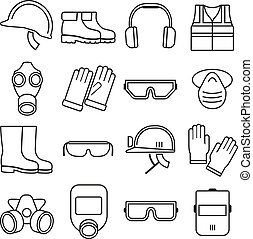 Linear job safety equipment vector icons set Equipment...