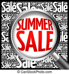 SUMMER SALE word cloud with magnifying glass, business...