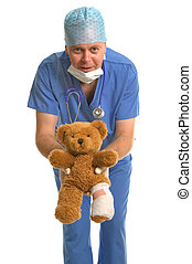 Hell be alright - Pediatrician giving back a wounded teddy...