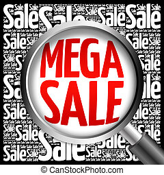 MEGA SALE word cloud with magnifying glass, business concept