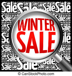 WINTER SALE word cloud with magnifying glass, business...