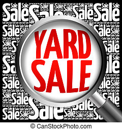 YARD SALE word cloud with magnifying glass, business concept