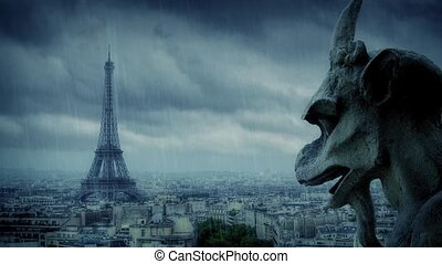 Gargoyle Looks Over Paris In Rain - Stone gargoyle on perch...