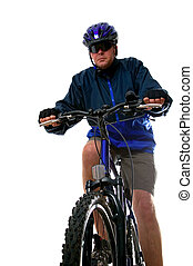 Man on a Mountain bike - Man on a mountain bike, isolated on...