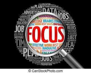 FOCUS word cloud with magnifying glass, business concept