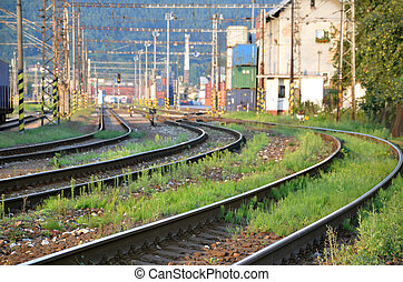 Railway lines leading to container transhipment station