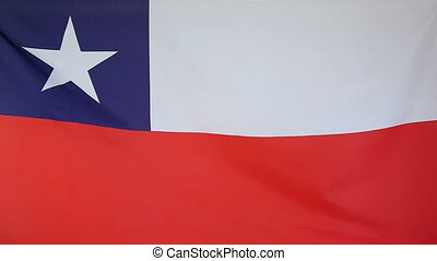 Slowmotion textile Flag of Chile - Slowmotion of a real...
