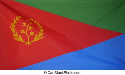 Slowmotion textile Flag Eritrea - Slowmotion of a real...