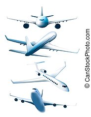 Set of airplanes in different foreshortening isolated on...