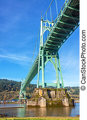 St Johns Bridge Vertical - Vertical view of St Johns Bridge...