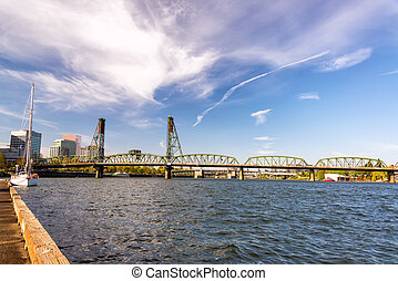 Hawthorne Bridge and Pier - View of the Hawthorne Bridge...