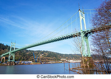 St Johns Bridge crossing the Willamette River in Portland,...