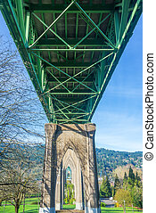 Under St Johns Bridge - View from below St Johns Bridge in...